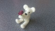 Needle felted miniature teddy bear with wine red by FeltedByRikke, $19.50