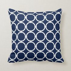 Nautical Pillows, Blue and White, Chain Pattern Throw Pillow | Zazzle.com Nautical Dining Rooms, Nautical Kitchen, Nautical Interior, Nautical Bedroom, Nautical Pillows, Blue Pillows, Throw Pillows, Custom Pillows, Your Design