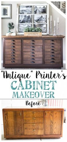 Antique Printer's Cabinet Makeover | http://blesserhouse.com - Cool way to give a Pottery Barn look to a plain buffet!