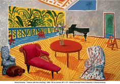 "David Hockney - ""Interior with Sun and Dog"", 1988.    From before his Big Picture Yorkshire landscapes"