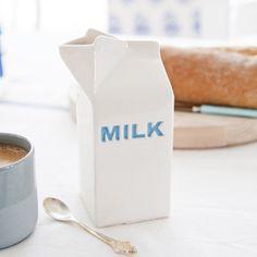 Katie Brinsley Blue Ceramic 'MILK' carton