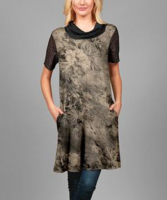 Look what I found on #zulily! Brown & Black Floral Lace-Sleeve Cowl Neck Tunic - Plus #zulilyfinds