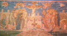 Pintura antiga numa igreja Católica, vejam o detalhe com dois UFOs onde se vê até os pilotos!