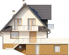 Elewacja tylna projektu Kasinka DM-6031 Modern Bungalow House, Modern House Design, Home Fashion, House Plans, Sweet Home, Floor Plans, Cabin, Flooring, How To Plan