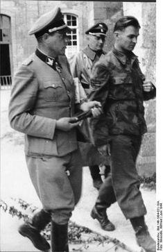 SS-Sturmbannführer Fritz Witt and SS-Obersturmbannführer Max Wünsche of German 12th SS Panzer Division 'Hitlerjugend' at the Ardenne Abbey, Caen, France, Jun 1944