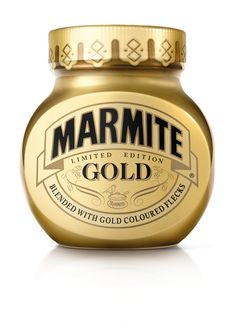 Packaging for Marmite's latest limited edition product Gold, designed by Hornall Anderson.