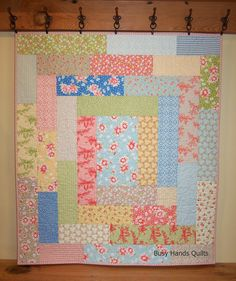 Busy Hands Quilts: A Giveaway at Finished or Not Friday {a Linky Party!} + California Girl Log Cabin Baby Quilt