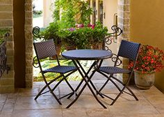 RST Brands Bistro Patio Furniture, 3-Piece  Bistro 3 Piece Set in Espresso Rattan by RST Outdoor model OP-PEBS3 allows you to entertain with distinction and charm. Each of the three piece Bistro set collapses for easy storage or portability. The 28-inch diameter table is large enough for dining or support for elegant entertaining. The chairs are 32-inch high at the back and the seats are 18.5-inch wide and 17-inch deep and are weight rated to 275 lbs. The woven diamond pattern of the..