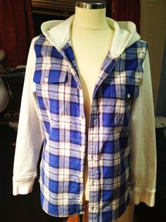 Totally need to make this. A flannel shirt with hoodie sleeves and hood sewn on to make a cool new hoodie.