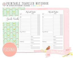 Personal Goals Tracker Traveler Notebook Refill. Printable TN PDF Download for Personal Use. Weekly Habit Tracker Task Inserts by RobinPrintables