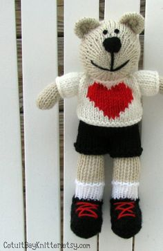 Lover Boy Toy Knitted Teddy Bear Ready To Ship by cotuitbayknitter, $55.00