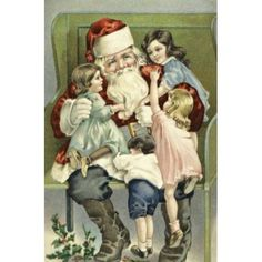 A Merry Christmas--Santa With Children On His Lap Nostalgia Cards Canvas Art - (18 x 24)