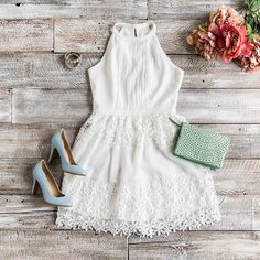 Outfit inspiration for the bride to be! Perfect outfit for a bridal shower or rehearsal dinner.