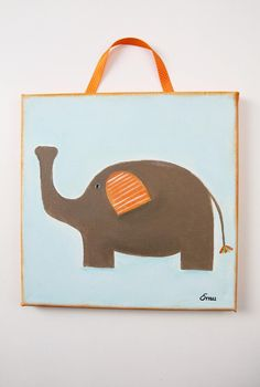 Sweet Elephant for Baby Nursery - Made to order - Original acrylic Painting on Canvas - Safari - Jungle - Wall Hanging