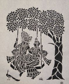 """Sanjhi Art of paper cutting - """"Sanjhi is not an art its a feeling and emotions of Sri Radha which she draws on earthen surface with colors and flowers."""" Sanjhi painting is a tradition of art that originated out of the cult of Krishna and flourished in the north Indian state of Uttar Pradesh. It is in Vraja, or Vrindavan, the homeland of Lord Sri Krishna, and this art of Sanjhi painting reached its pinnacle."""
