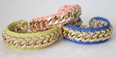 Joyas pulsera - Crochet - Pastel amarillo y beige - Crochet cadena pulsera - Pastel de amistad - Arm Candy