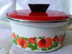 60s swedish Vintage enamel retro pot with lid. by Inspiria on Etsy, $20.43