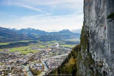 Rock climbing high above the city by Christoph Oberschneider on Rock Climbing, Mountains, City, Instagram, Nature, Travel, Naturaleza, Viajes, Climbing