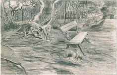 Bench in a Wood Vincent van Gogh Drawing, Pencil, pen, brown ink The Hague: September, 1882