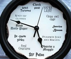 Track time like a true wizard using this Harry Potter wall clock. The edges of this geeky clock's face are hand burned to create an aged look, while the numbers are replaced with Harry Pottered inspired references.