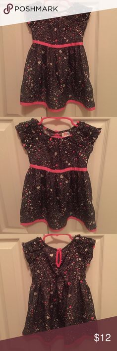 Adorable Heart Dress with Ruffle Shoulders This Circo dress was worn once by my daughter for a Valentine's party. It is very soft and comfortable for little girls. Cute ruffle design on shoulders and button fastener in back for babies like mine with big heads! 😊😆 excellent condition. Circo Dresses Casual