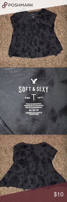AE Soft & Sexy Tee Fun tie dye vneck. Super loose and flattering. In great condition only worn a few times. Fits true to size. Size M! American Eagle Outfitters Tops Tees - Short Sleeve
