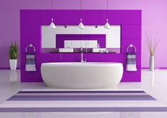 Purple Paradise  Florescent colors are the latest trend, complimenting modern fixtures in this bright bathroom.