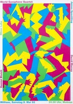 """world saxophone quartet"" by niklaus troxler / switzerland, 1993 / silkscreen, 895 x 1280 mm Saxophone Quartet, Poster Design Inspiration, Music Images, Afro Art, Cool Posters, Graphic Posters, Skateboard Art, Concert Posters, Festival Posters"
