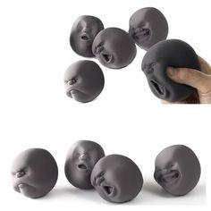 #4pcs Novelty Stress Relievers Anti-stress Stress Rrelief Toys Human Face Ball - Black $25.40