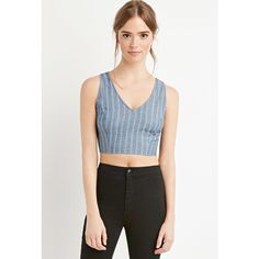 Forever 21 Women's  Cutout Chambray Crop Top ($13) ❤ liked on Polyvore featuring tops, sleeveless crop top, sleeveless tops, cut-out tops, striped top and triangle crop top