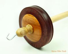 Drop Spindle Top Whorl Purpleheart & Apple Hand by MaineFiberTools