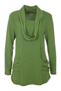"""A cowl neck tunic with scoop insert in a flattering A-line shape for the #""""O"""" shape, #apple shape"""
