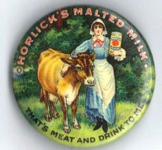 icollect247.com Online Vintage Antiques and Collectables - Horlicks Malted Milk Celluloid Pinback Button 1896