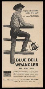 1958 Rodeo Cowboy Jim Shoulders Photo Wrangler Blue Bell Jeans Vintage Print Ad