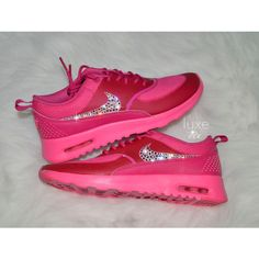 Nike Air Max Thea Pink Pow Fireberry With Swarovski Xirius Rose-Cut. f971c7e9c3