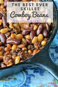 Get this recipe for the Best Ever Cowboy Beans made in a skillet in the oven or on a grill. This hearty recipe is perfect for a campfire cookout and everyone will love the sweet and savory Cowboy Beans dinner. Tailgating Recipes, Grilling Recipes, Beef Recipes, Camping Recipes, Barbecue Recipes, Barbecue Sauce, Side Dishes For Bbq, Vegetable Side Dishes, Side Dish Recipes