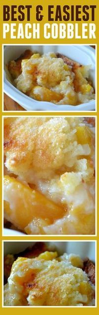 This peach cobbler recipe is the best and easiest recipe I have ever made. It doesn't hurt that it tastes super yum especially when topped with a little vanilla bean ice cream. <--- for the hubby, he loves peach cobbler! 13 Desserts, Southern Desserts, Brownie Desserts, Pudding Desserts, Chocolate Cheesecake, Weight Watcher Desserts, Fruit Recipes, Desert Recipes, Cooking Recipes