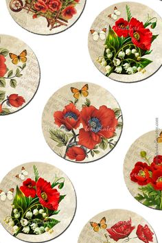 Digital Collage Sheet  Red Flowers 1 inch от Templates4Sellers