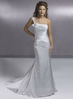 A Line One Shoulder Chapel Train Column Wedding Dress