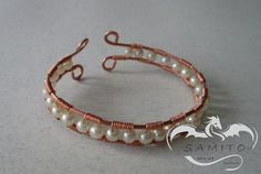 Bracelet, Free shipping, handmade, hammered technique, copper,wire art, pearls