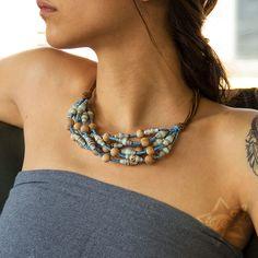 ZezeCraft&Design Ethnic Collection Necklace 01 (ZCDECN01) #recycle #necklace #paperbead #zezecraftdesign