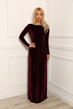 f421ab3c4ec3 Bridesmaid Velvet Maxi Dress  Round Neck Deep Open Back Long Sleeves Dress   With High Slit Sash Waistband