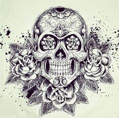 Sugar Skull w/ Roses Tattoo