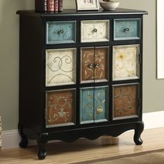 Distressed Black/Multi-Color Apothecary Bombay Chest traditional-storage-units-and-cabinets