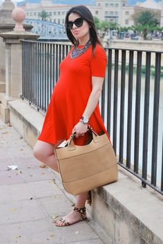 Orange Dress + Ethnic Necklace. Pregnant Style.