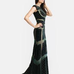 Sheer gown with symmetrical patterned, hand beaded, royal green velvet, sweep train Royal Green, Sheer Gown, Fashion Designer, Confident Woman, Handmade Dresses, Green Velvet, Dublin, Ready To Wear, Train