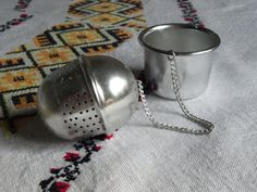 Loose leaf tea infuser Vintage aluminium strainer Tea gift for her Fall housewarming gift Tea lovers Christmas gift Food photography prop