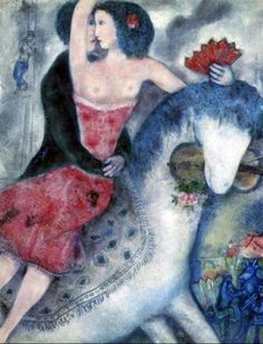 Above: Equestrienne, 1931 ~ Marc Chagall . Don't Let That Horse… :) . Don't let that horse eat that violin cried Chagall's mother But he kept right on painting And became famous And kept on. Marc Chagall, Artist Chagall, Chagall Paintings, Oil Paintings, Indian Paintings, Abstract Paintings, Landscape Paintings, Illustration Photo, Manet