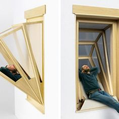"Innovative ""More Sky"" Windows Transform into Outdoor Seating for Small Apartments - My Modern Met Creative Inventions, Interior Architecture, Interior Design, Tiny Apartments, Deco Design, Window Design, Furniture Design, Building Furniture, Design Inspiration"