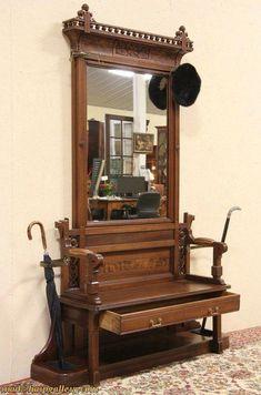Eastlake 1875 Antique Hall Bench, Stand & Mirror #BuyingList